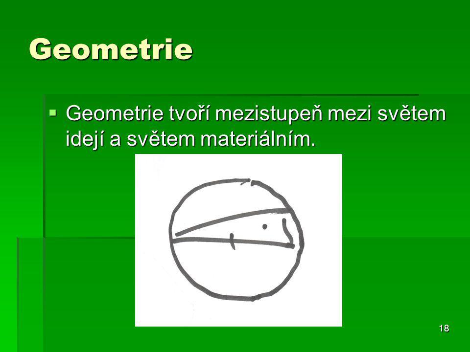 Geometrie Geometrie tvoří mezistupeň mezi světem idejí a světem materiálním.