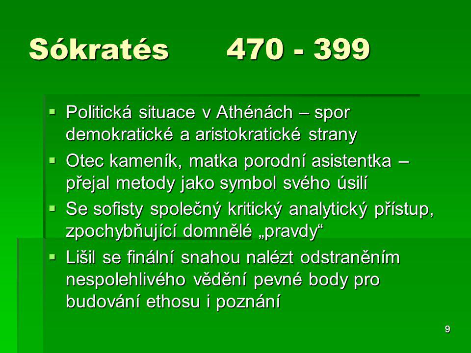 Sókratés 470 - 399 Politická situace v Athénách – spor demokratické a aristokratické strany.