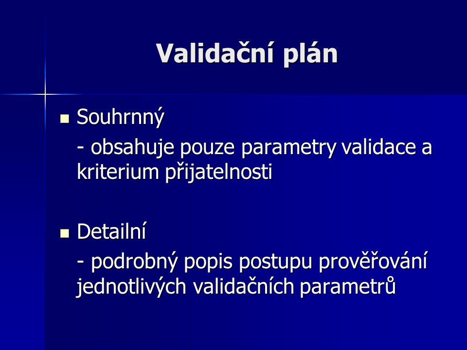 Validační plán Souhrnný