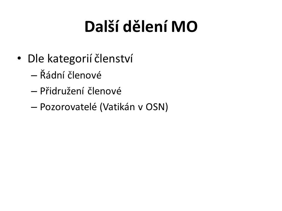 Další dělení MO Dle kategorií členství Řádní členové