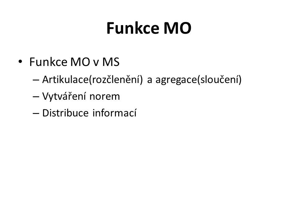 Funkce MO Funkce MO v MS Artikulace(rozčlenění) a agregace(sloučení)