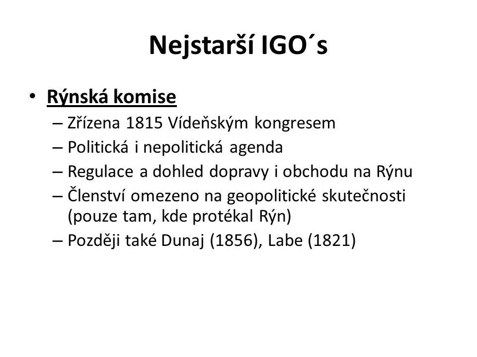 Nejstarší IGO´s Rýnská komise Zřízena 1815 Vídeňským kongresem