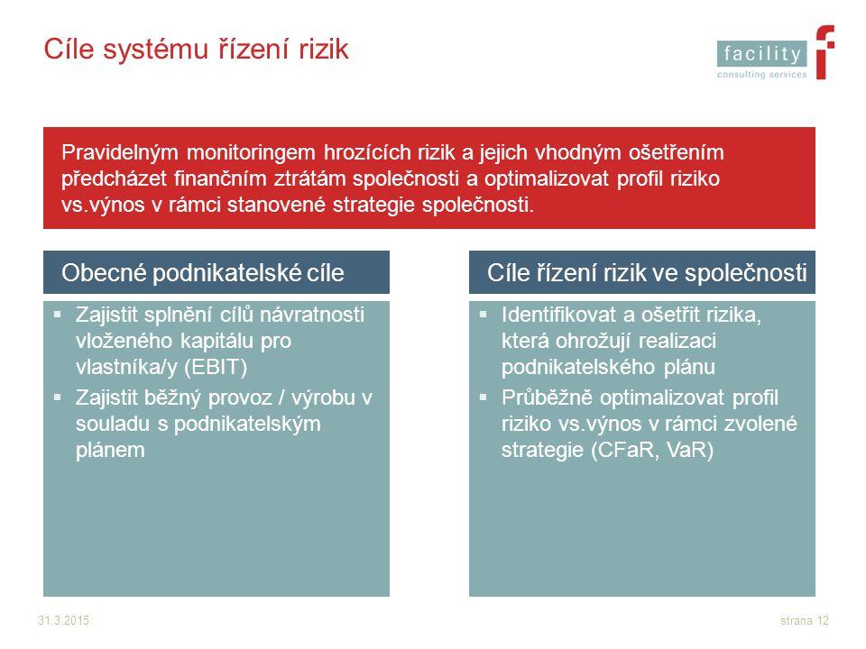 Cíle systému řízení rizik