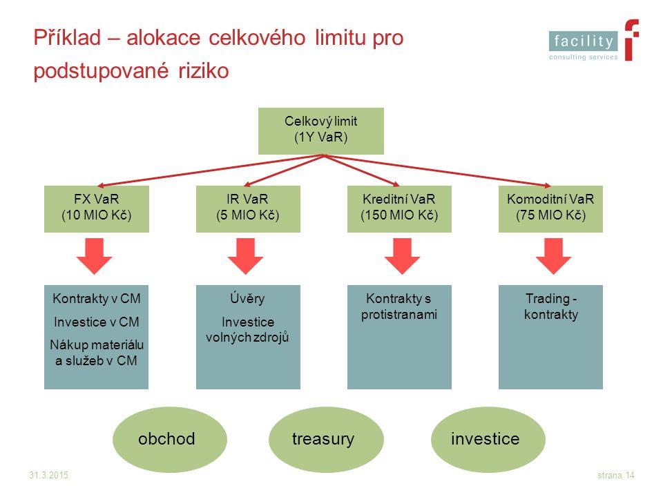 Příklad – alokace celkového limitu pro podstupované riziko