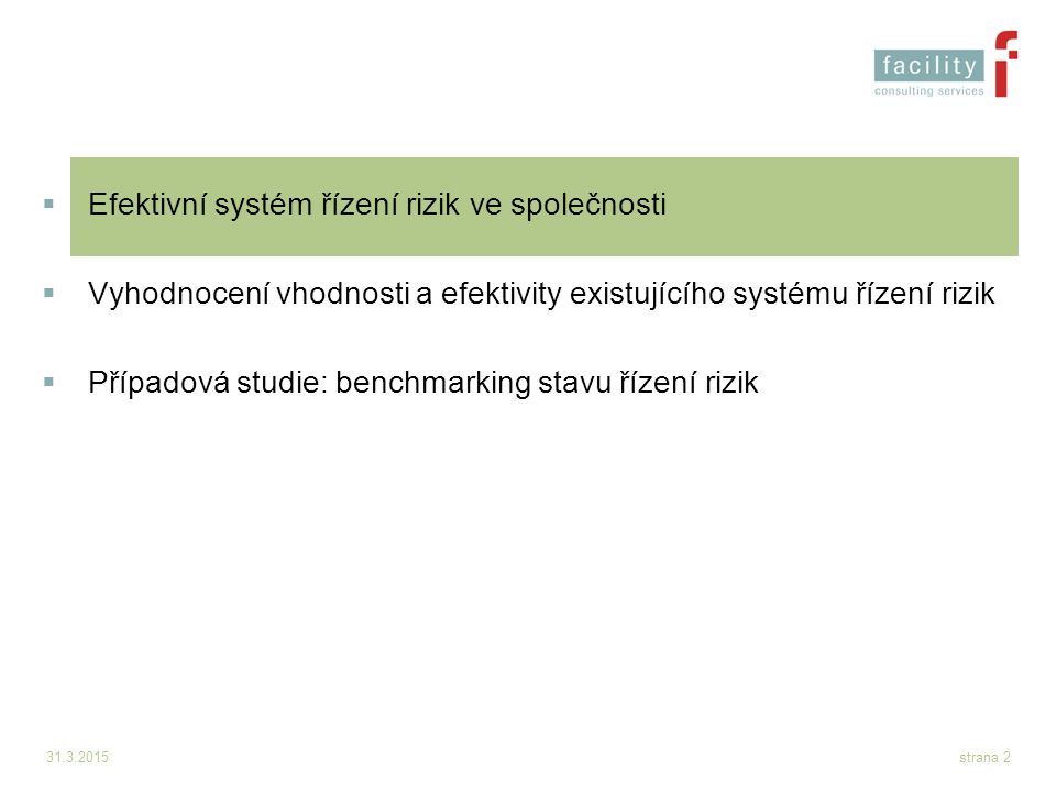 Efektivní systém řízení rizik ve společnosti