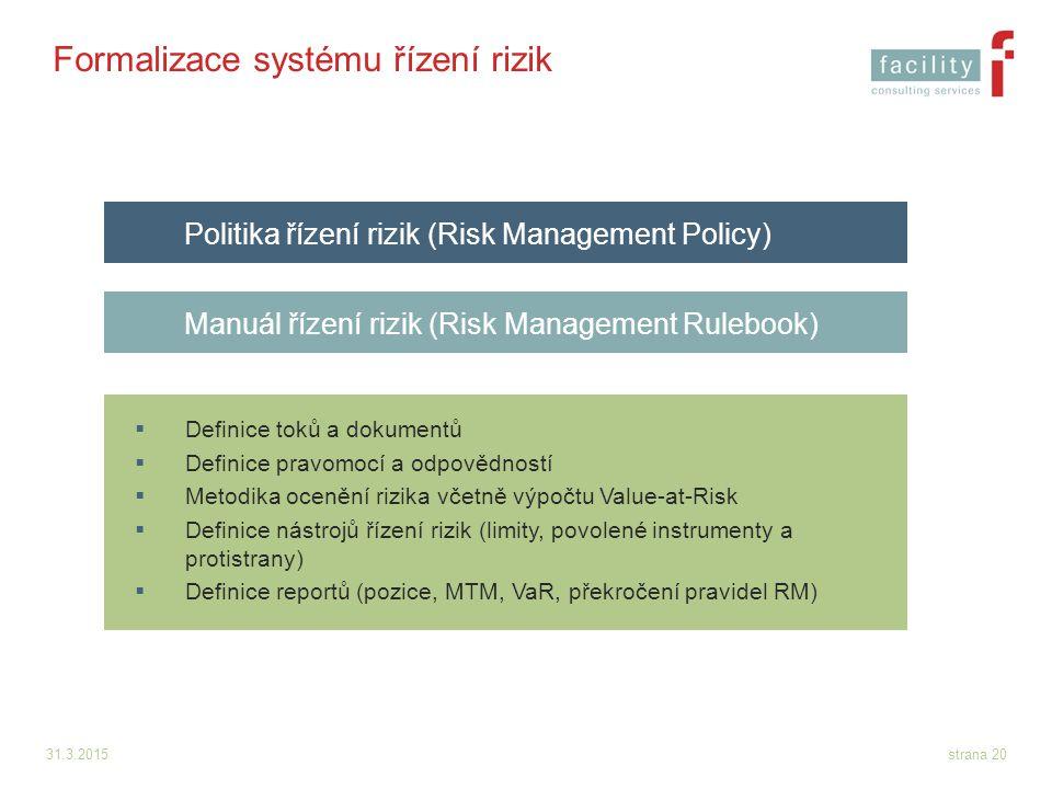 Formalizace systému řízení rizik