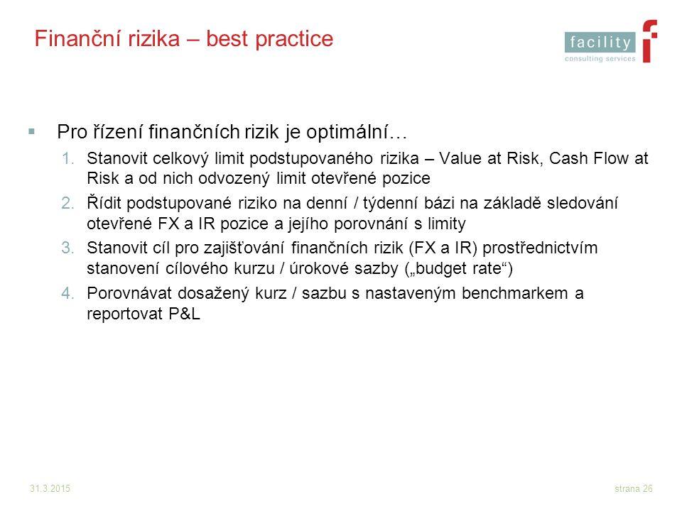 Finanční rizika – best practice