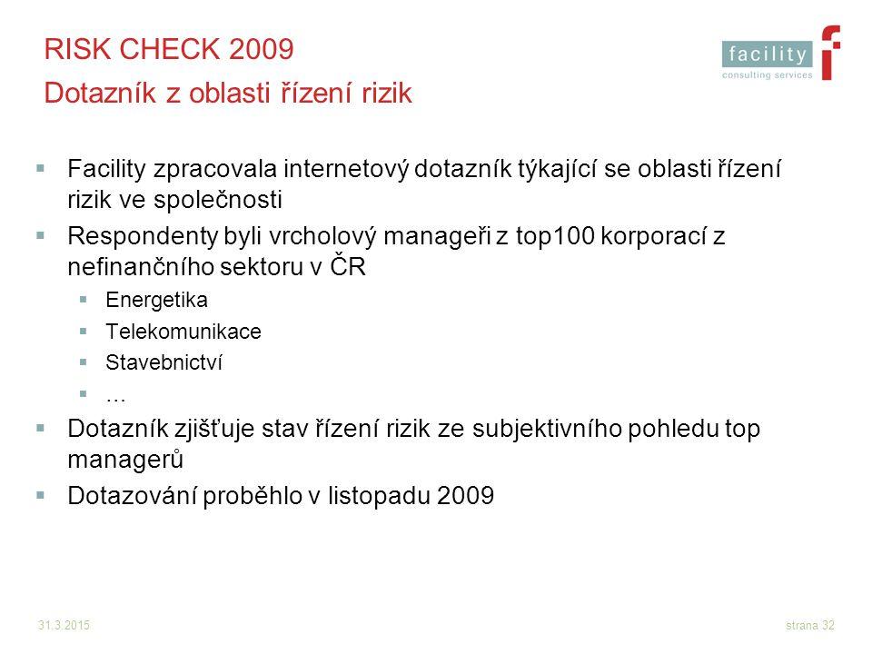 RISK CHECK 2009 Dotazník z oblasti řízení rizik