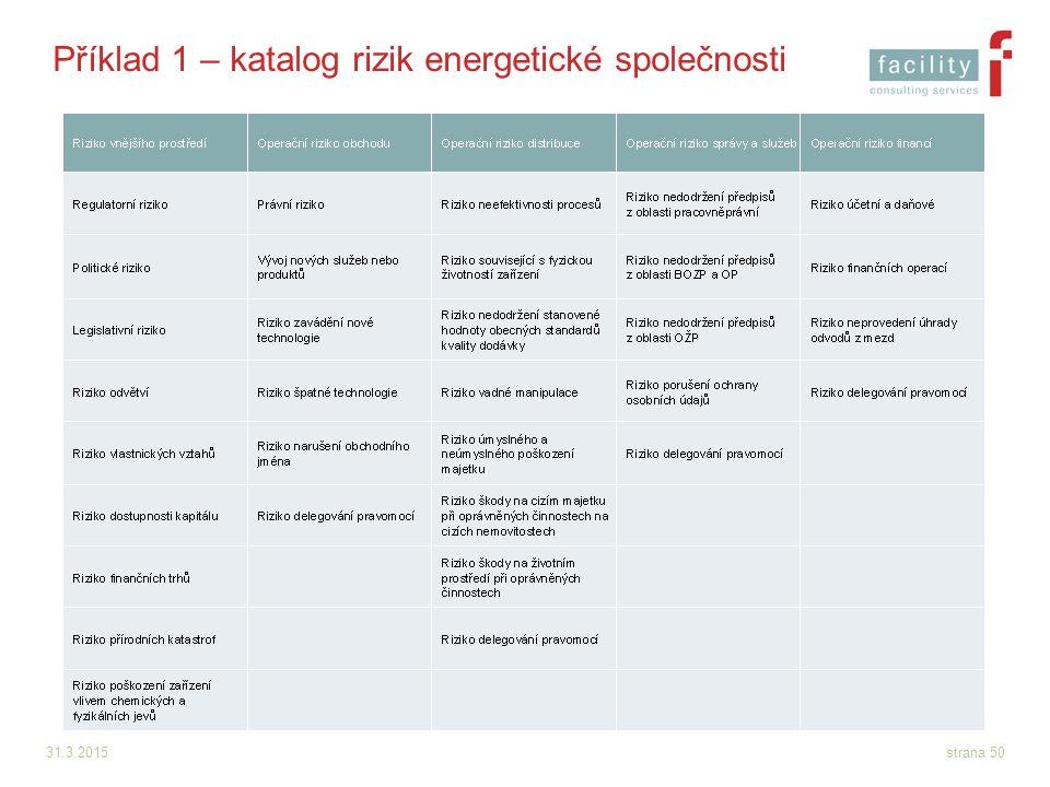 Příklad 1 – katalog rizik energetické společnosti