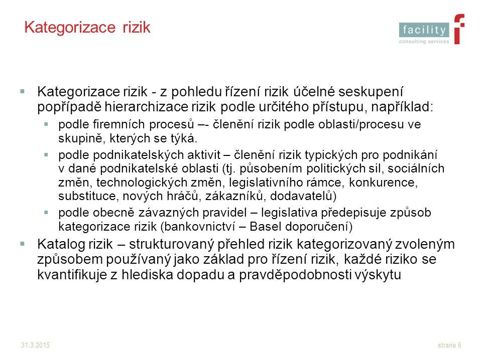 Kategorizace rizik Kategorizace rizik - z pohledu řízení rizik účelné seskupení popřípadě hierarchizace rizik podle určitého přístupu, například: