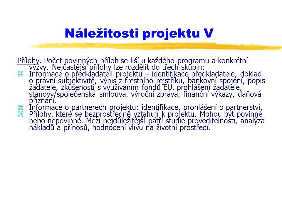 Náležitosti projektu V