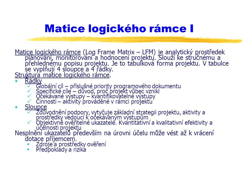 Matice logického rámce I