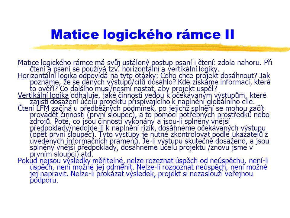 Matice logického rámce II