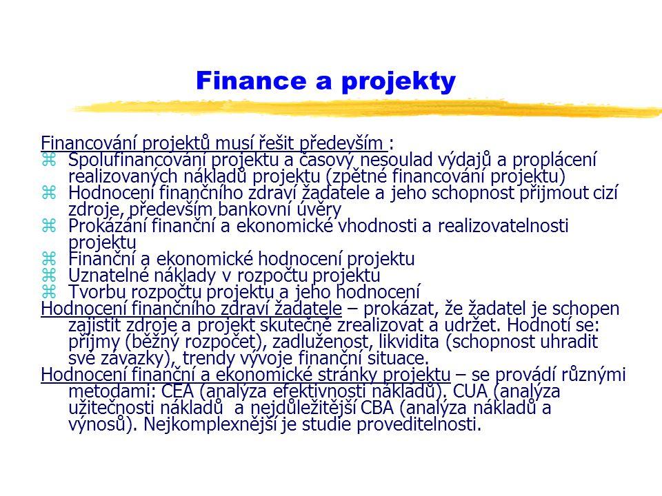 Finance a projekty Financování projektů musí řešit především :