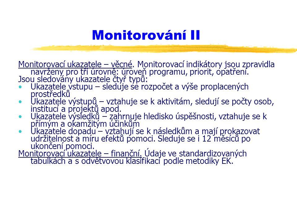 Monitorování II Monitorovací ukazatele – věcné. Monitorovací indikátory jsou zpravidla navrženy pro tři úrovně: úroveň programu, priorit, opatření.