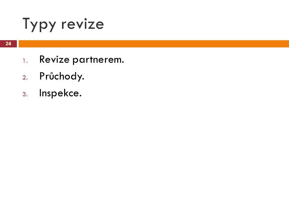 Typy revize Revize partnerem. Průchody. Inspekce.
