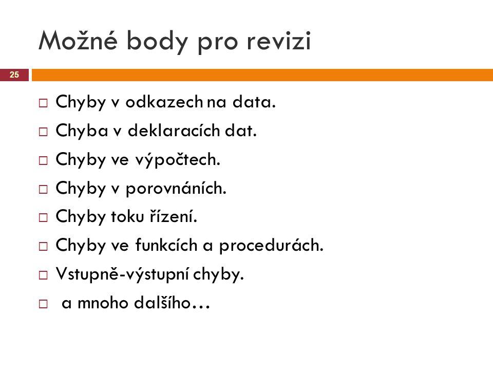 Možné body pro revizi Chyby v odkazech na data.