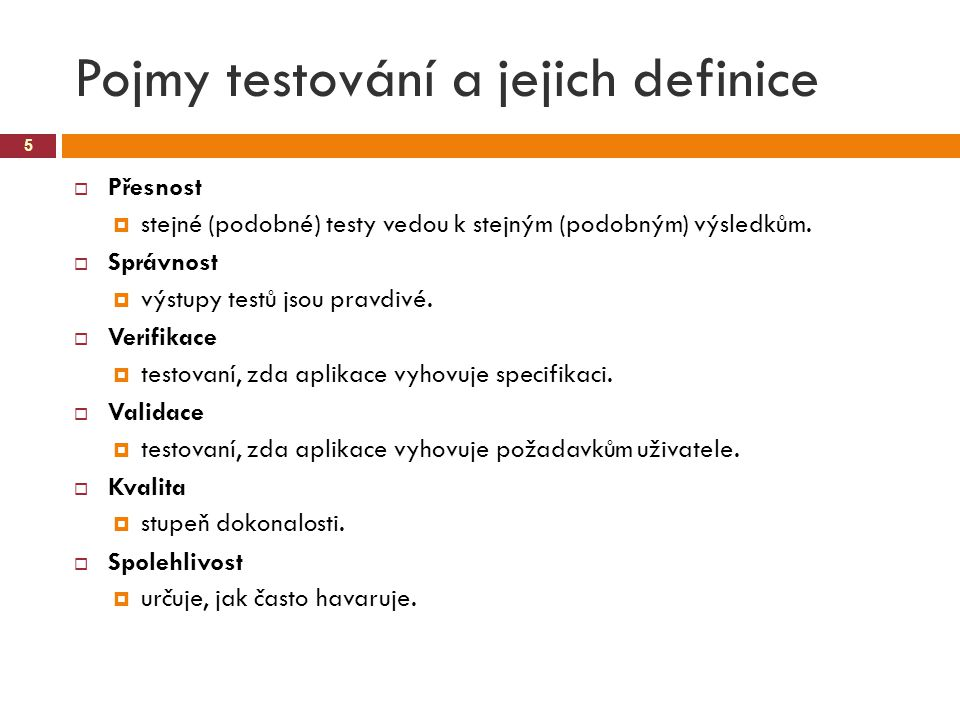Pojmy testování a jejich definice
