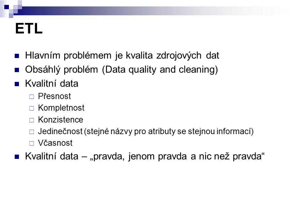 ETL Hlavním problémem je kvalita zdrojových dat