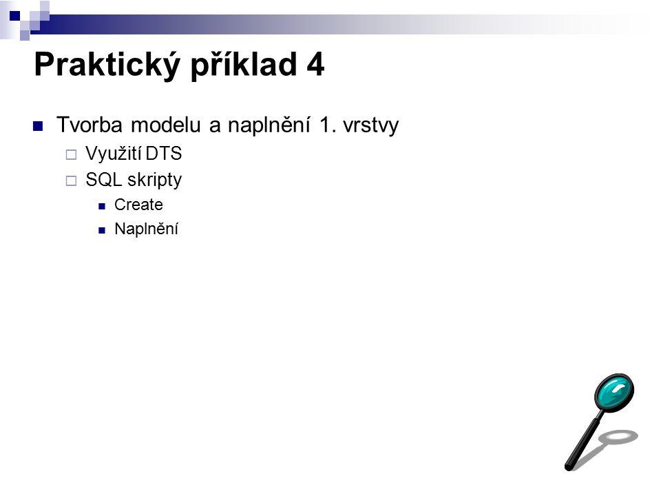 Praktický příklad 4 Tvorba modelu a naplnění 1. vrstvy Využití DTS