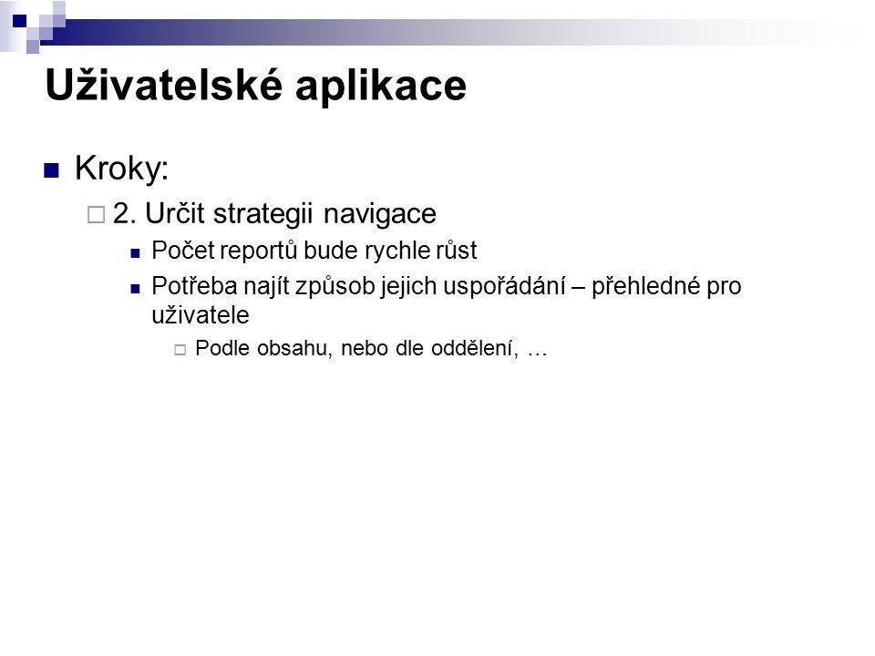 Uživatelské aplikace Kroky: 2. Určit strategii navigace