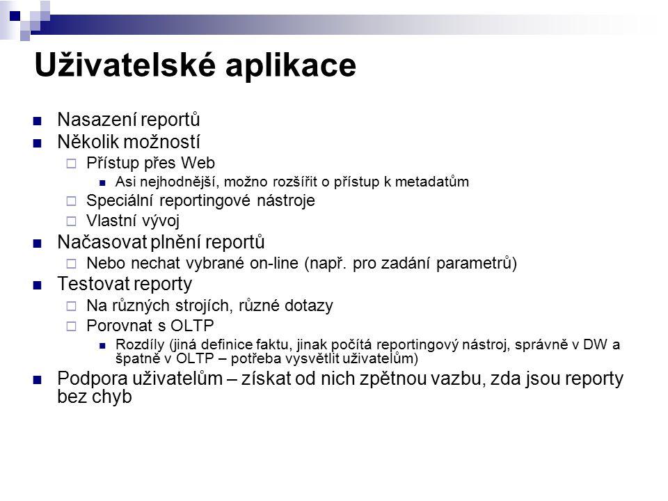 Uživatelské aplikace Nasazení reportů Několik možností