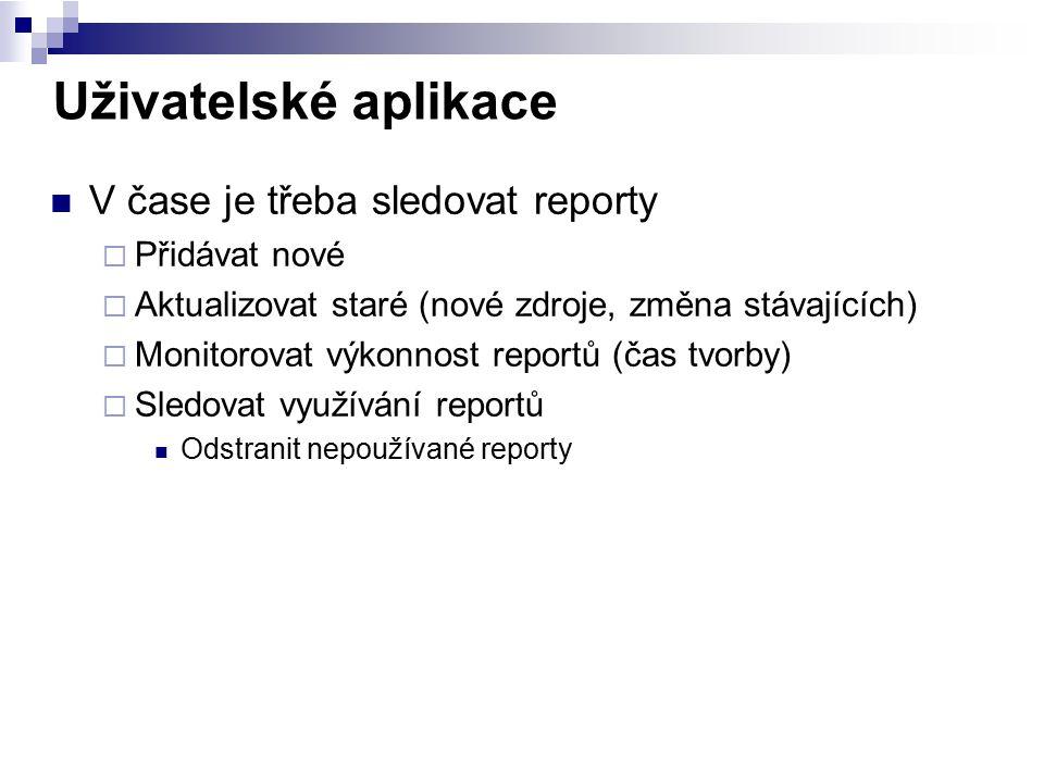 Uživatelské aplikace V čase je třeba sledovat reporty Přidávat nové