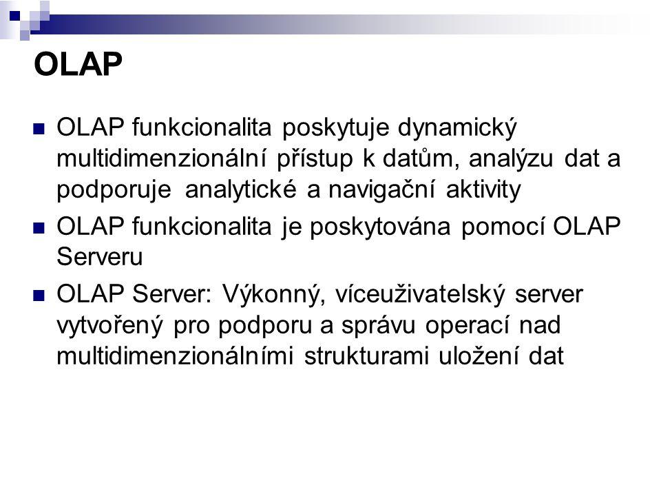 OLAP OLAP funkcionalita poskytuje dynamický multidimenzionální přístup k datům, analýzu dat a podporuje analytické a navigační aktivity.