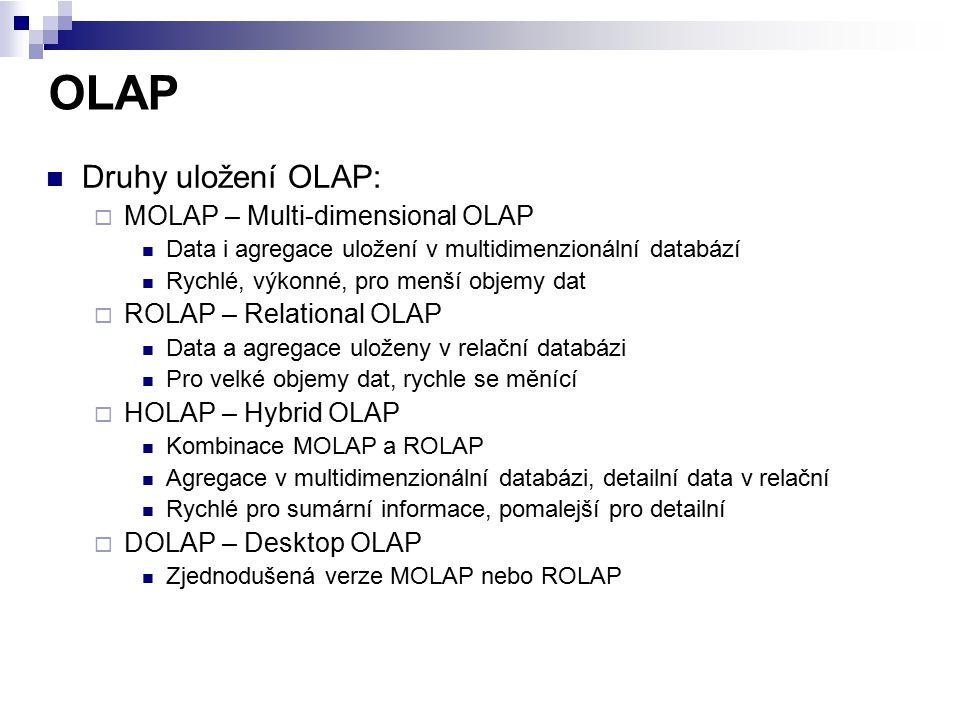 OLAP Druhy uložení OLAP: MOLAP – Multi-dimensional OLAP