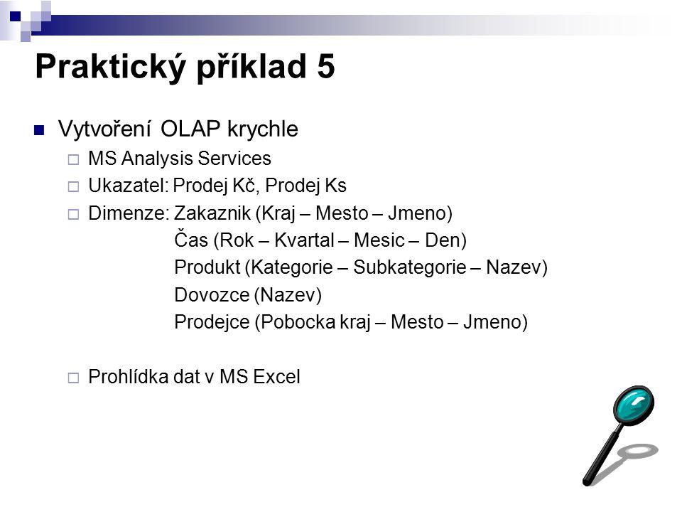 Praktický příklad 5 Vytvoření OLAP krychle MS Analysis Services