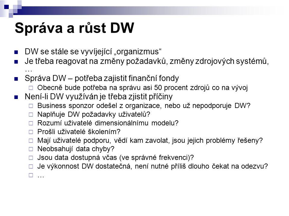 """Správa a růst DW DW se stále se vyvíjející """"organizmus"""