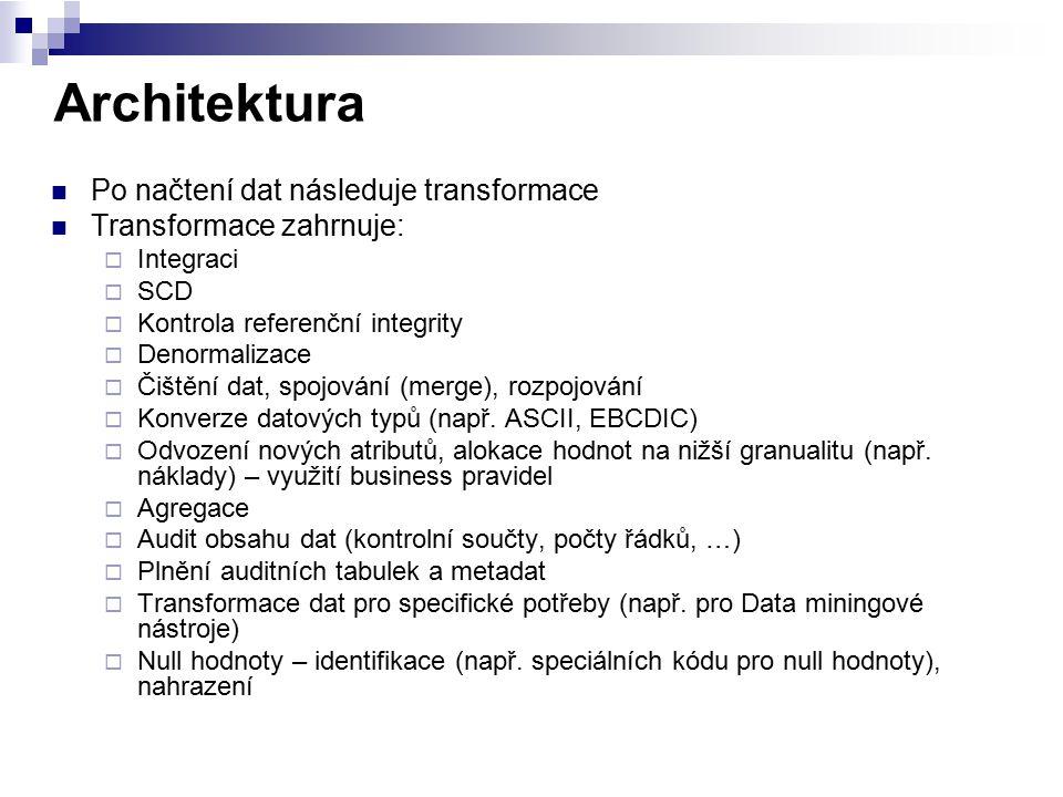 Architektura Po načtení dat následuje transformace