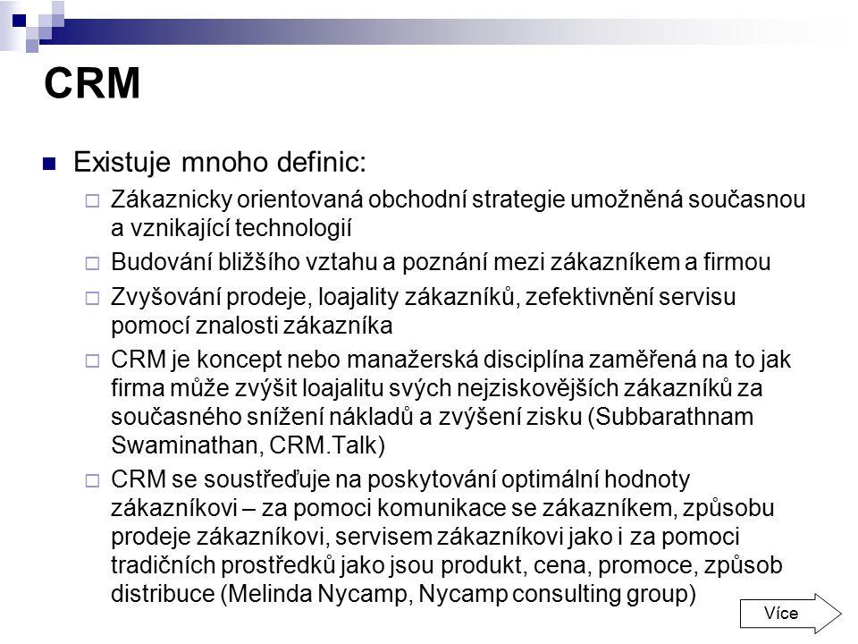 CRM Existuje mnoho definic: