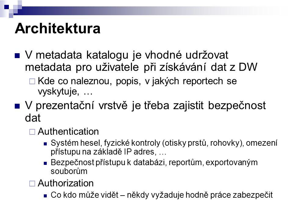 Architektura V metadata katalogu je vhodné udržovat metadata pro uživatele při získávání dat z DW.
