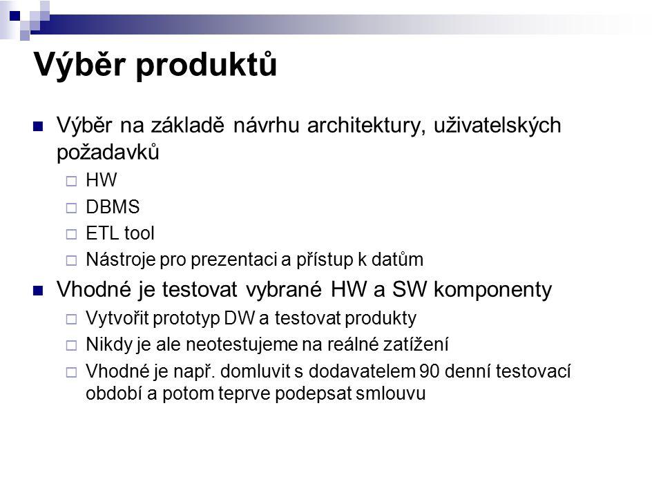 Výběr produktů Výběr na základě návrhu architektury, uživatelských požadavků. HW. DBMS. ETL tool.