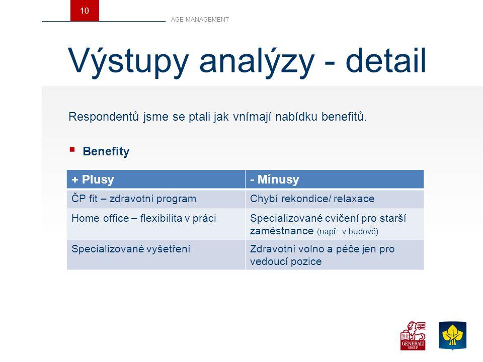 Výstupy analýzy - detail