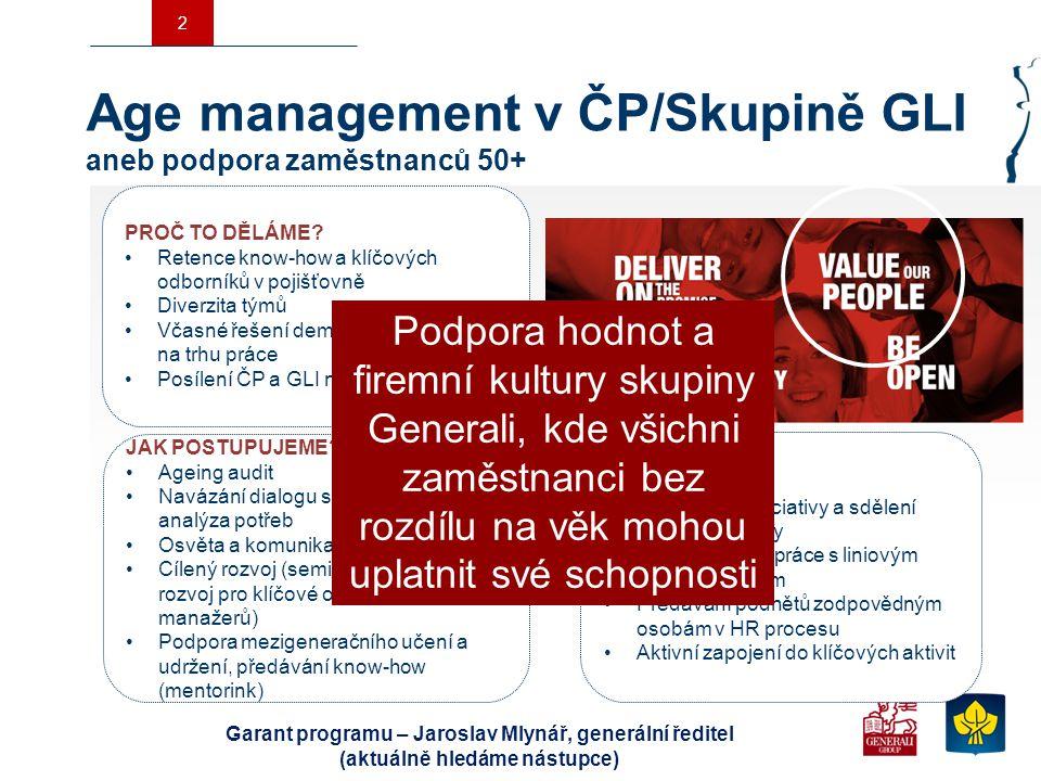 Age management v ČP/Skupině GLI aneb podpora zaměstnanců 50+