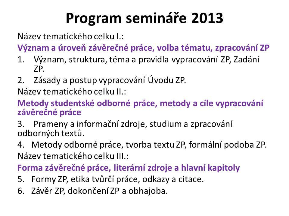 Program semináře 2013 Název tematického celku I.: