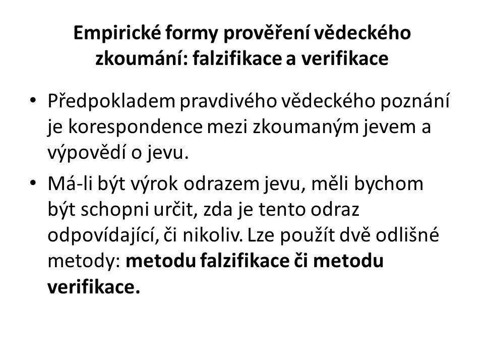 Empirické formy prověření vědeckého zkoumání: falzifikace a verifikace