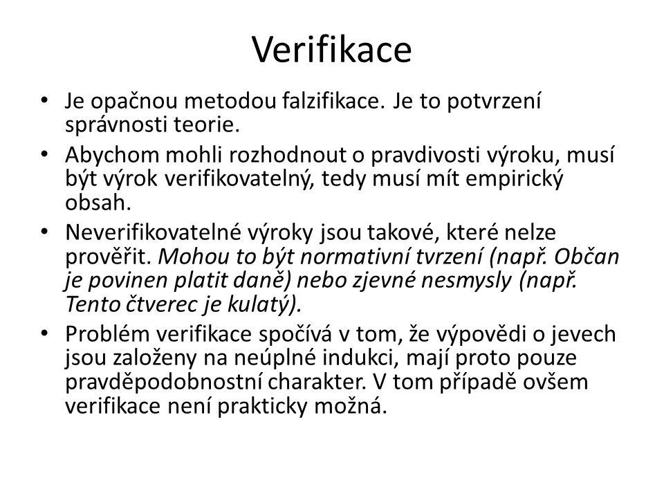 Verifikace Je opačnou metodou falzifikace. Je to potvrzení správnosti teorie.