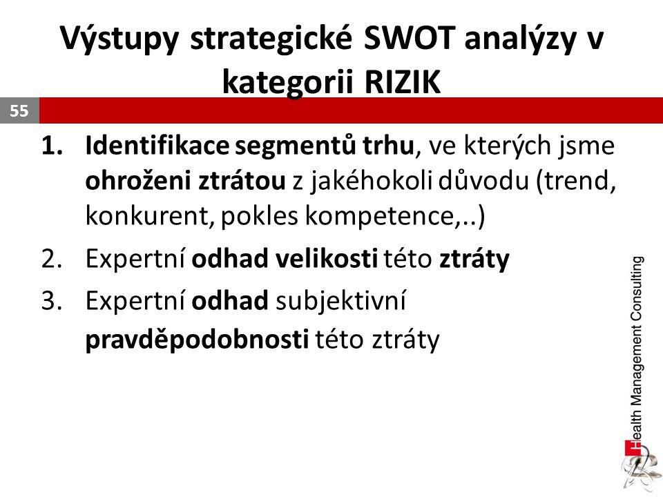 Výstupy strategické SWOT analýzy v kategorii RIZIK