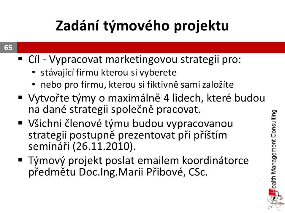 Zadání týmového projektu