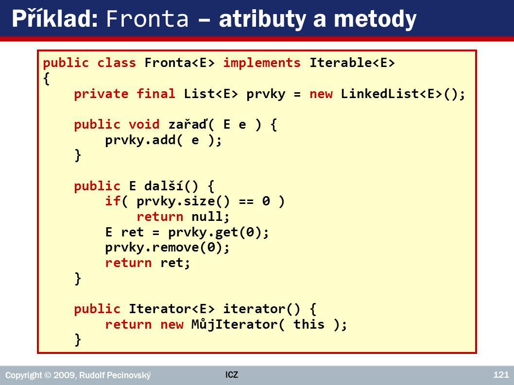 Příklad: Fronta – atributy a metody