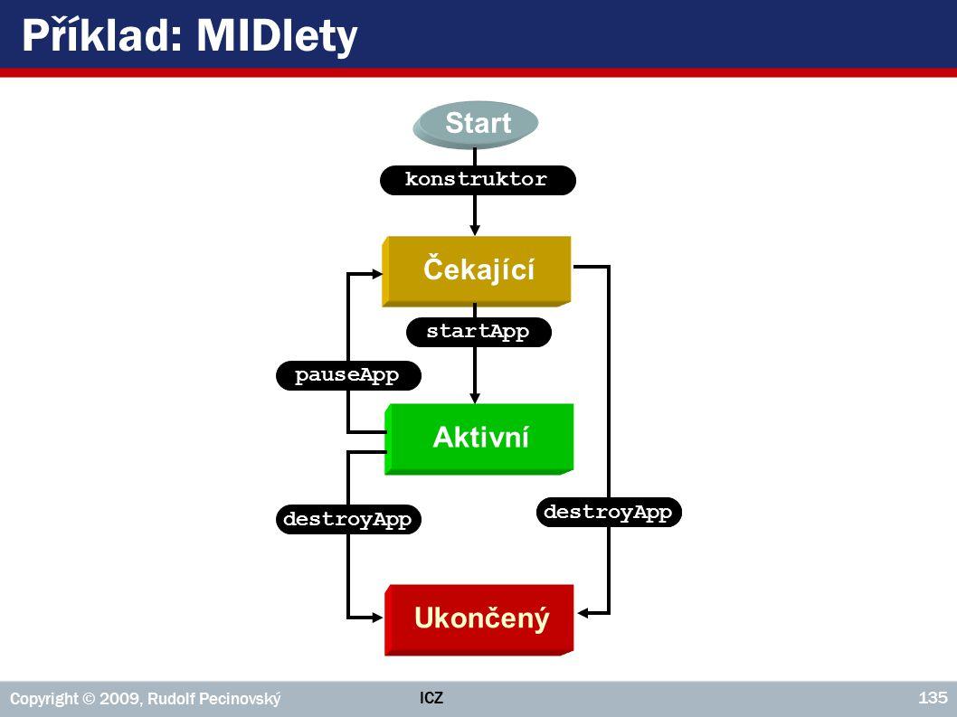 Příklad: MIDlety Start Čekající Aktivní Ukončený konstruktor startApp