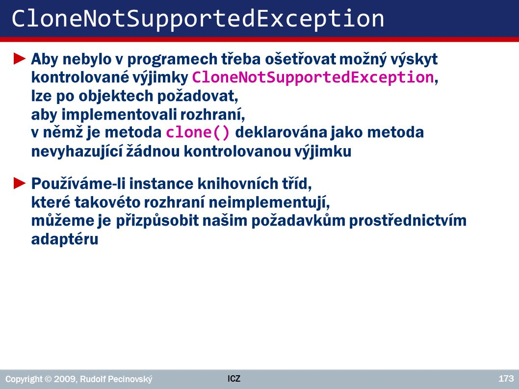CloneNotSupportedException