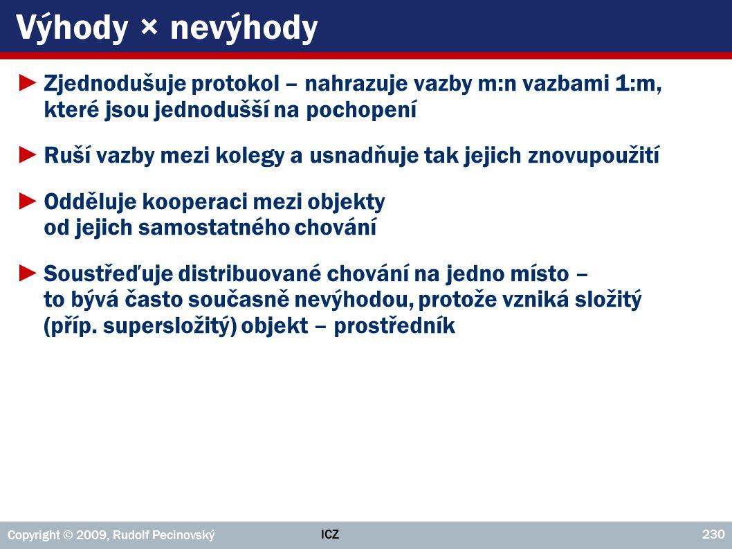Výhody × nevýhody Zjednodušuje protokol – nahrazuje vazby m:n vazbami 1:m, které jsou jednodušší na pochopení.