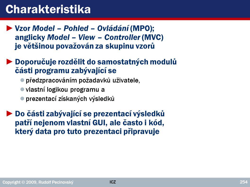Charakteristika Vzor Model – Pohled – Ovládání (MPO); anglicky Model – View – Controller (MVC) je většinou považován za skupinu vzorů.