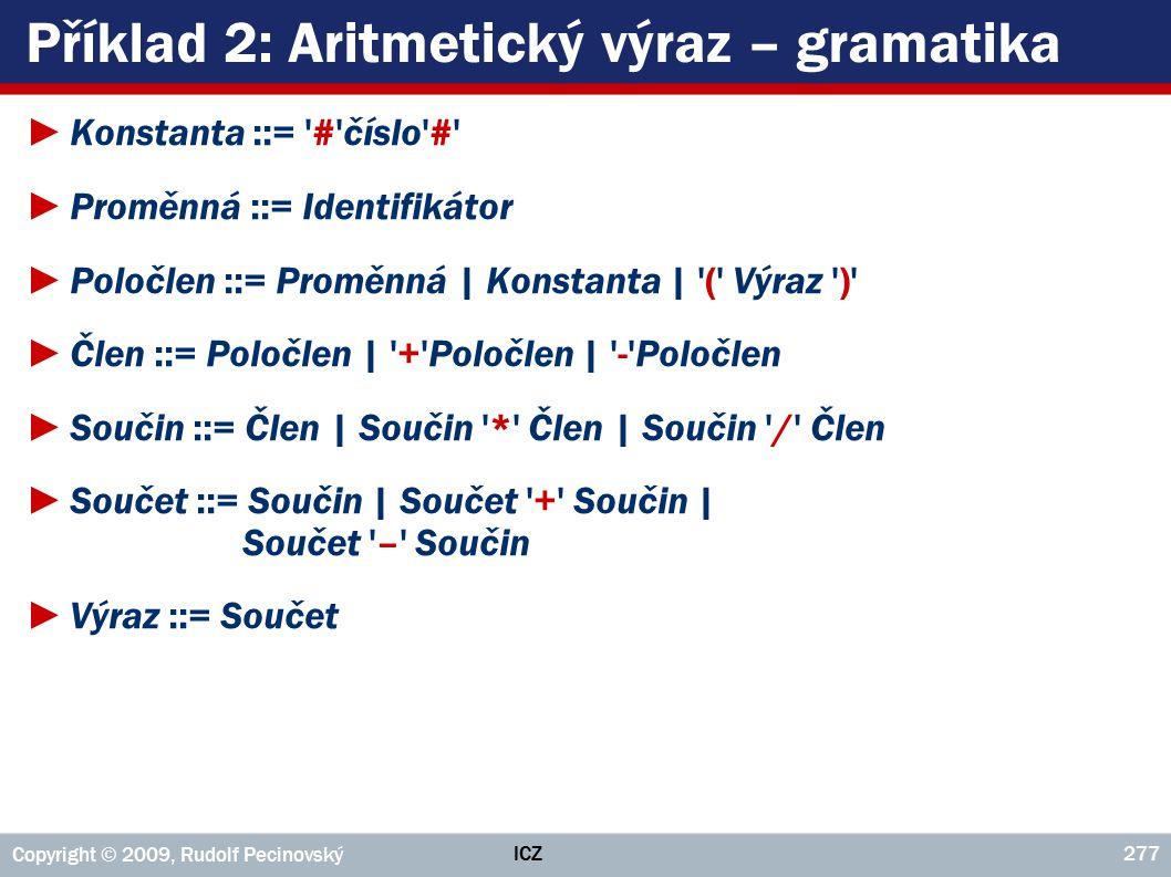 Příklad 2: Aritmetický výraz – gramatika