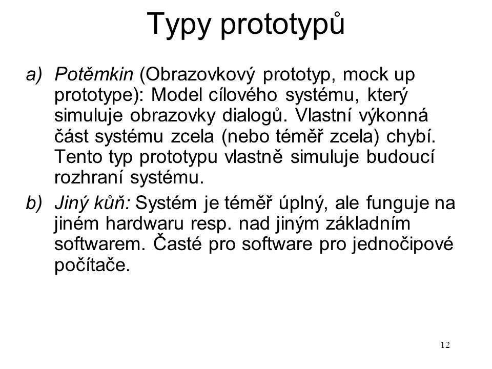 Typy prototypů