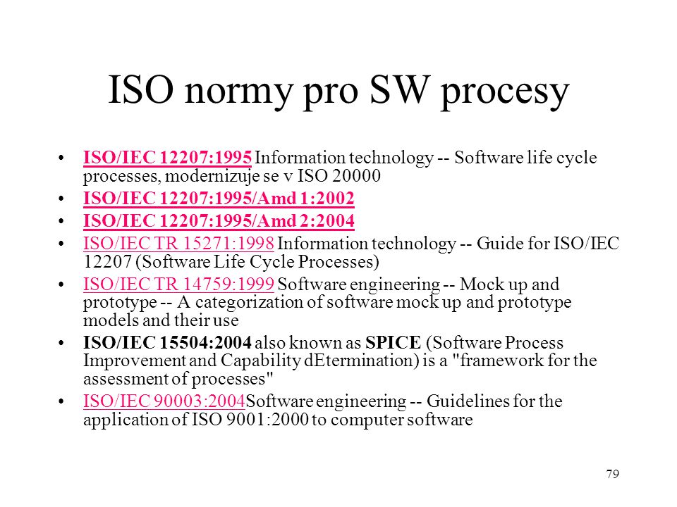 ISO normy pro SW procesy